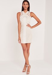Missguided Carli Bybel Lace Cut Out Cross Neck Bodycon Dress White White
