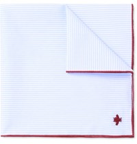 Gucci Embroidered Striped Cotton Pocket Square Blue