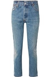 Re Done Levi's Distressed Studded High Rise Skinny Jeans Mid Denim