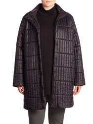 Eileen Fisher Quilted Stand Collar Coat Black