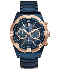 Guess Men's Chronograph Blue Tone Stainless Steel Bracelet Watch 44Mm U0377g4