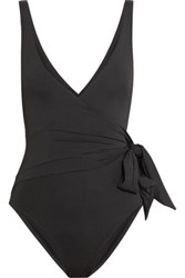 Iris And Ink Wrap Effect Knotted Swimsuit Black