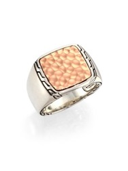 John Hardy Palu Hammered Panel Sterling Silver Signet Ring Silver Bronze