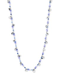 Lonna And Lilly Gold Tone Blue Bead Long Statement Necklace Silver