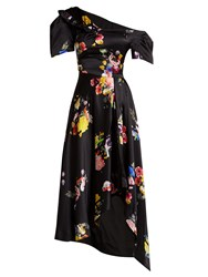 Preen Irene Off The Shoulder Silk Dress Black Multi