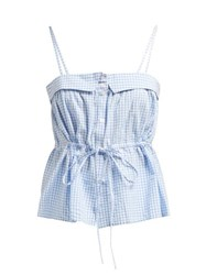 Mes Demoiselles Tropizienne Gingham Cotton Top Blue White