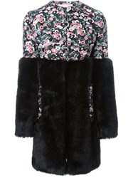 Giamba Paneled Floral Patterned Fur Coat Black