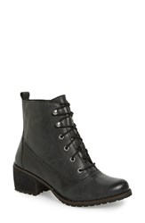 Aetrex Women's 'Skyler' Lace Up Zip Bootie Black Leather
