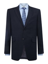 Howick Baltimore Sb2 Notch Lapel Pow Check Suit Jacket Navy