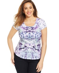 Style And Co. Plus Size Printed Rhinestone Embellished Top Ditsy Scarf
