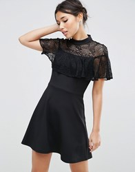 Asos High Neck Dress With Lace Frill Detail Black