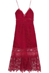 Self Portrait Ruffled Georgette Trimmed Guipure Lace Dress Red