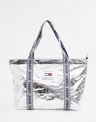 Tommy Jeans Logo Tape Tote Bag Silver