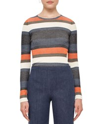 Akris Punto Stripe Ribbed Wool Sweater Multi Multi Colors