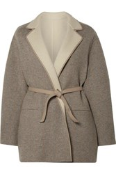 Loro Piana Reversible Leather Trimmed Cashmere Jacket Beige