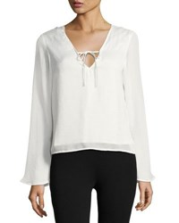 Lucca Couture Front Tie Long Sleeve Top White