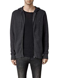 Allsaints Trias Chunky Knit Cotton Hoodie Cinder Black Marl
