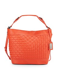 Badgley Mischka Frankie Quilted Leather Crossbody Hobo Tangerine