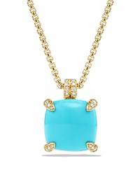 David Yurman Chatelaine Pendant Necklace With Turquoise And Diamonds In 18K Gold Blue Gold
