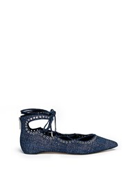 Pedder Red 'Joey Rock' Foil Print Suede Lace Up Skimmer Flats Blue