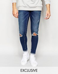 Cheap Monday Jeans Mid Spray On Extreme Super Skinny Fit Ragged Blue Rips