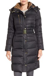 Cole Haan Signature Women's Belted Down And Feather Fill Long Coat With Faux Fur Trim