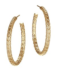 John Hardy Classic Chain 18K Yellow Gold Medium Hoop Earrings