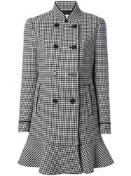Red Valentino Houndstooth Double Breasted Coat Women Polyester Acetate Wool 38 Black