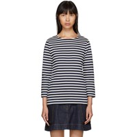 A.P.C. Navy And Off White Long Sleeve Nikki Sailor T Shirt