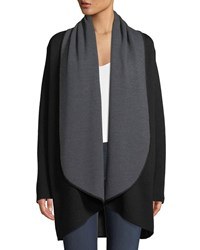 Milly Contrast Double Face Draped Cardigan Coat Black Grey