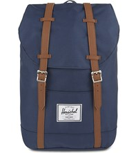 Herschel Retreat Backpack Navy Tan Syn Leather