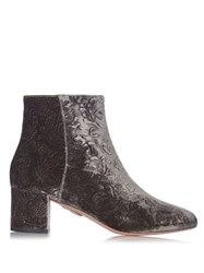 Aquazzura Baroque Velvet Ankle Boots Grey