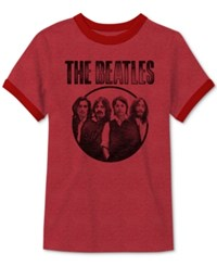 Jem Men's The Beatles Vintage Graphic Print T Shirt Red Heather