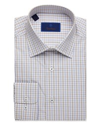 David Donahue Regular Fit Box Check Dress Shirt Chocolate