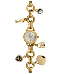 Style And Co. Women's Gold Tone Charm Bracelet Watch 23Mm 10018877