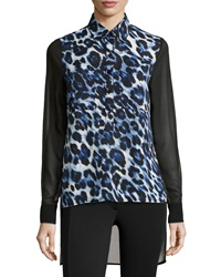 Single Dress Single Sheer Animal Print Silk Blouse Denim