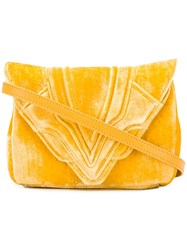 Elena Ghisellini Felix Velvet Clutch Yellow And Orange