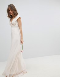 Tfnc Bardot Maxi Bridesmaid Dress With Fishtail And Embellished Waist Pink