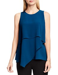 Vince Camuto Asymmetrical Layered Blouse Blue