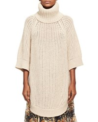 Chloe Oversized Chunky Open Knit Turtleneck Poncho Beige