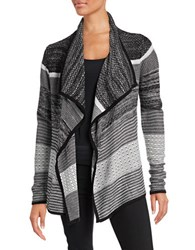 Ivanka Trump Knit Flyaway Cardigan Black Ivory Heather