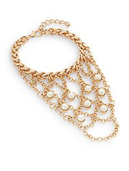 Saks Fifth Avenue Faux Pearl Cage Bracelet Gold