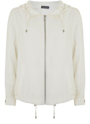 Mint Velvet White Soft Hooded Zip Jacket White