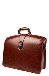 Bosca Men's Triple Compartment Leather Briefcase Brown Cognac