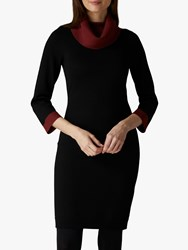Jaeger Contrast Knit Wool Dress Black