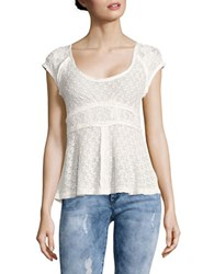 Free People Besties Lace Button Front Top Ivory