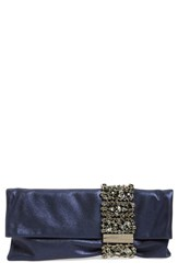 Jimmy Choo 'Chandra' Leather And Crystal Clutch Blue Navy