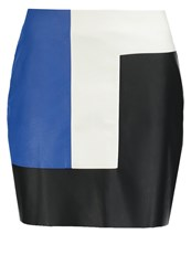 Morgan Jemot Mini Skirt Noir Bleu Blanc Black