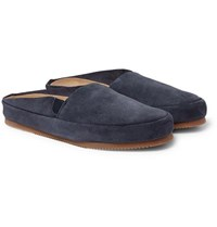 Mulo Suede Backless Loafers Dark Gray