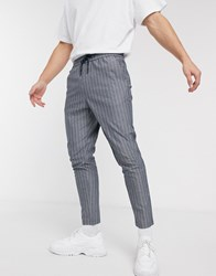 Only And Sons Tapered Cropped Fit Pin Stripe Trousers In Blue